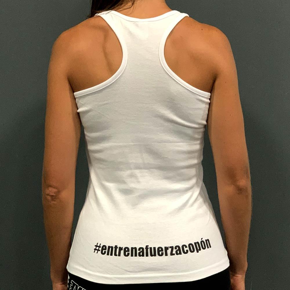 Camiseta mujer blanca espalda Ismael Galancho